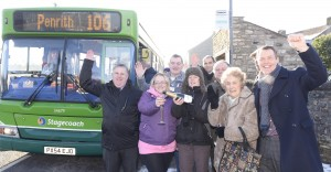 Celebrations as the Penrith 106 bus arrives at Shap