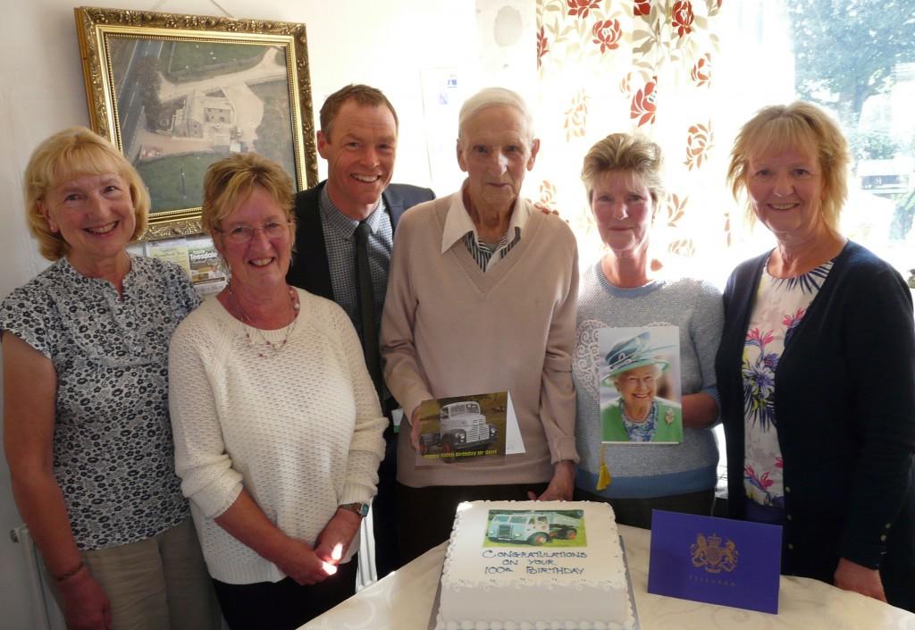 Mr Dent celebrates his 100th birthday with Eden Housing Assocaition MD John Clasper