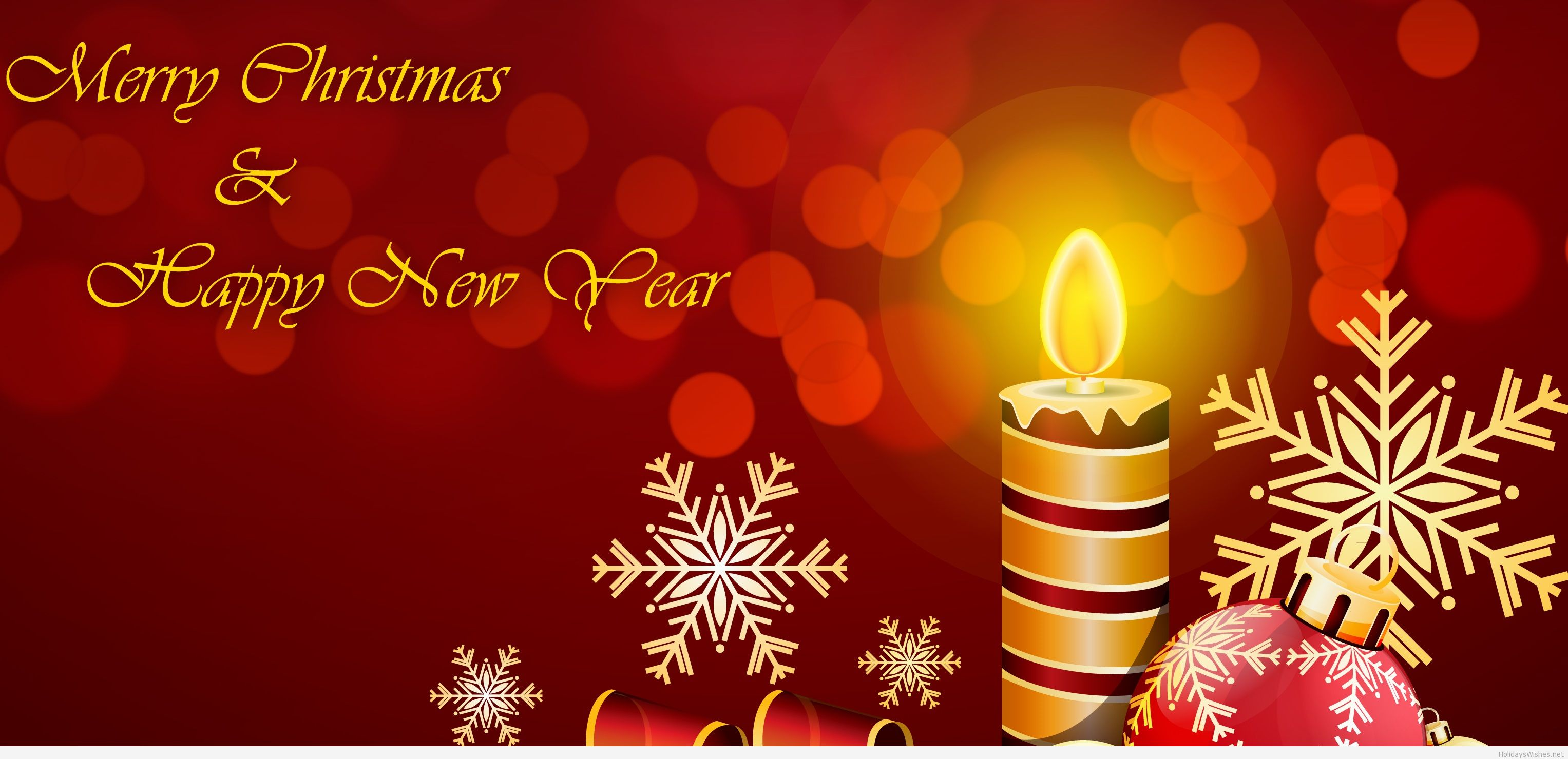 Merry Christmas And Happy New Year Greeting Card With Snowflakes On